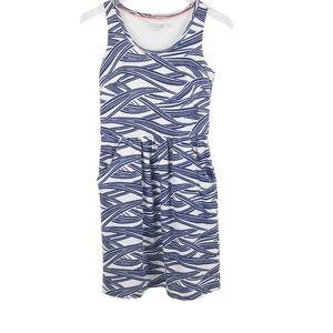 Boden Blue White Sleeveless Cotton Dress Pockets 6